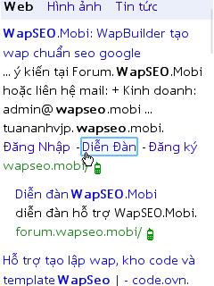 Cách lấy google sitelinks cho trang wap